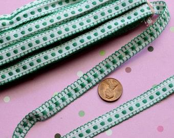 "1 yard vintage all cotton ribbon trim woven dots green white   7/16"" wide"
