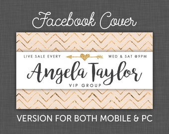Custom Facebook Cover, Facebook Banner, Facebook Chevron, Gold Heart and Arrow, Facebook, Timeline Cover