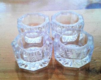 Four Vintage Individual Clear Glass Salt Dips Or Salt Cellars