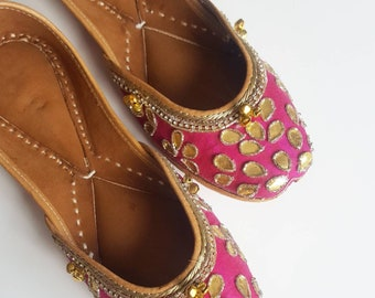 Hot Pink Slip On Shoes - Pink Punjabi Jutti with Bells, Pink Ballet Flats, Pink Slip On Shoes, Indian Jewelry, Indian Shoes, Saree