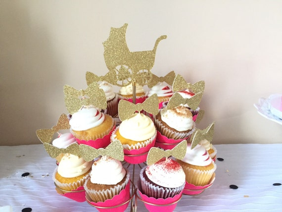 Double sided or single sided Bow cupcake toppers