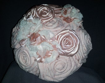 Wedding Bouquet - Blush/Lace Fabric Flower Bouquet - Bridal Wedding Bouquet  fabric flower bouquet  Deposit