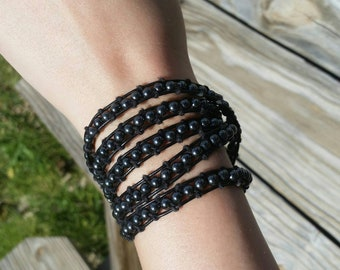 Hematite Bead Leather Wrap Bracelet