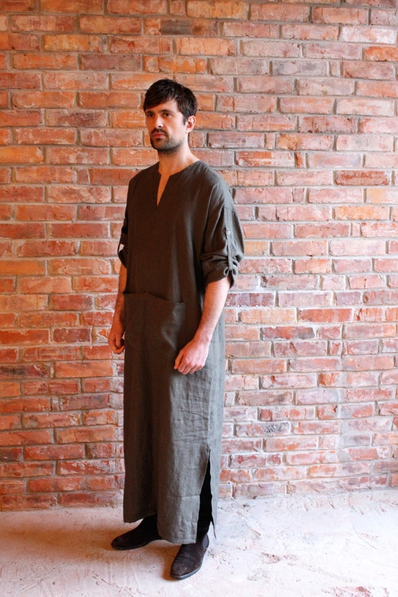 order Mens Custom Khaki Wear wear Loungewear Spa Beach Long Kaftan Caftan Robe Mens shirt Linen Djellaba Linen Homewear Linen BITqUA