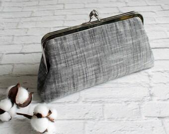 Kiss Lock Purse, Clutch, Metal Frame Purse, Vintage Style Clutch, Clasp Purse, Simple Purse, Handbag, Japanese Sevenberry, Charcoal Linen