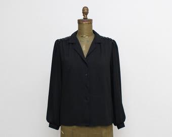 Black Sheer Sequin Blouse - Size Medium Vintage 1970s Womens Button Down Top