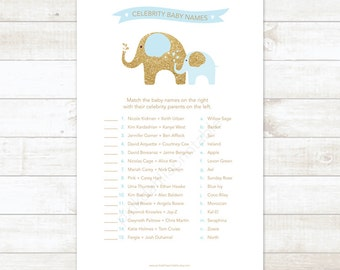 blue and gold celebrity baby names baby boy shower matching game card elephant blue and gold baby shower digital games - INSTANT DOWNLOAD