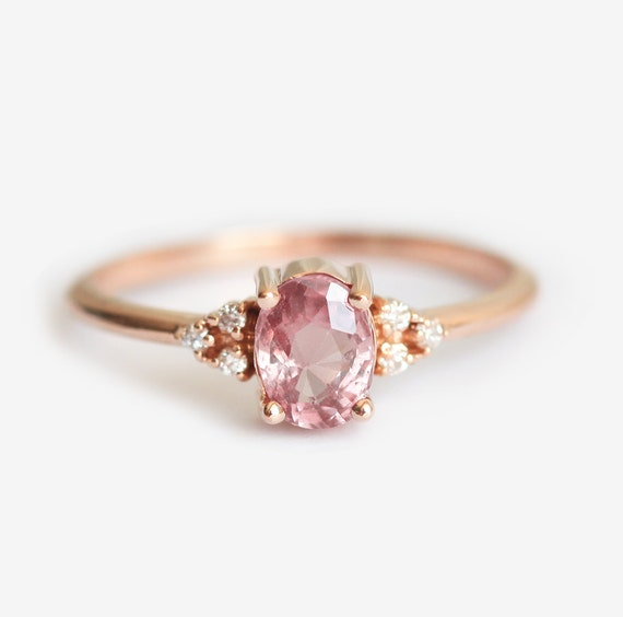 Engagement Ring Sapphire Engagement Ring Peach Sapphire