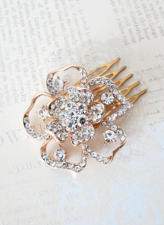 Rose Gold Wedding Flower Hair Comb, Accessories, Rose Gold Hair Comb, Pink Gold, Champagne, Crystal, Garden Flower Comb - Sakura
