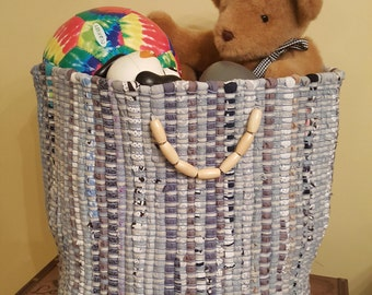 Storage Basket, Fabric Basket, Kids Storage, Toy Storage, Nursery Storage, Shabby Chic, Vintage, Country, Rustic Decor