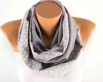 Polka dot  Infinity scarf,Loop scarf,grey