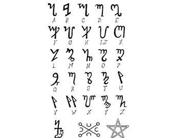 The Witches Alphabet (Theban)- CLING rubber STAMP by Cherry Pie R542