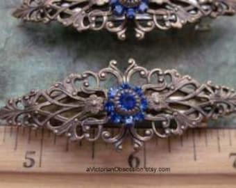 Hair barrette Victorian small barrette  antique gold and blue Rhinestone barrette hair clip