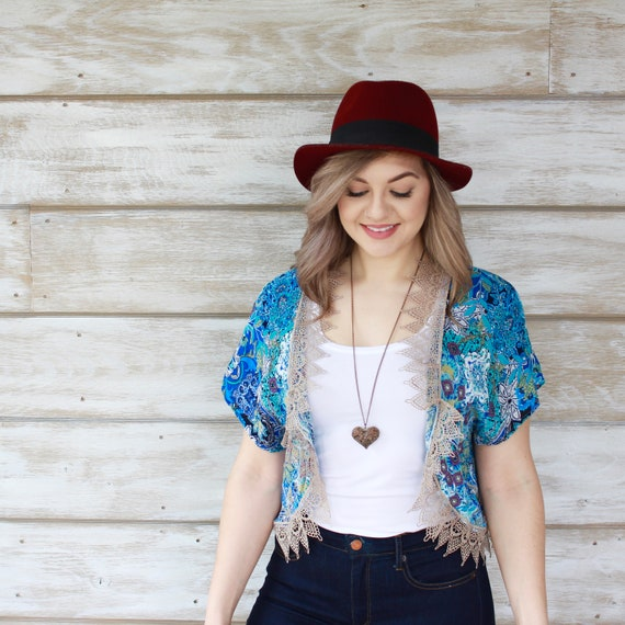 Kimono Cardigan, Beach Kimono, Short Kimono, Lace Kimono, Blue Kimono, Summer Clothing, Kimono Cardigan