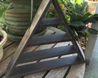 Industrial Hammered Grey Triangle Shelf, Masculine Shelf, Industrial Decor, Pyramid Shelf, Industrial Shelf, Modern Decor, Crystal Display