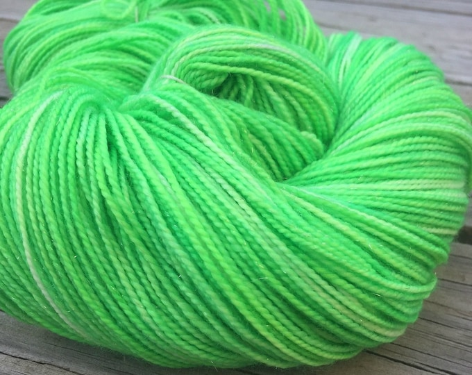 No Scurvy - Bag of Limes Hand Dyed Acid Lime Green Sparkle Sock Yarn Hand Painted sockyarn 463 yards superwash merino fingering weight swm