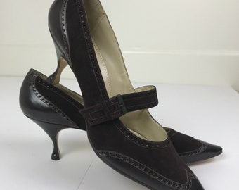 Gorgeous Vintage 1960's Chocolate Spectator Stiletto Heels Size 9 1/2