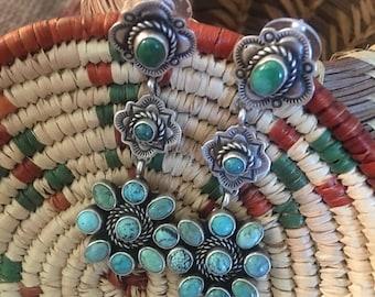 Etta Endito Navajo Sterling Silver & Turquoise Dangle Earrings Signed
