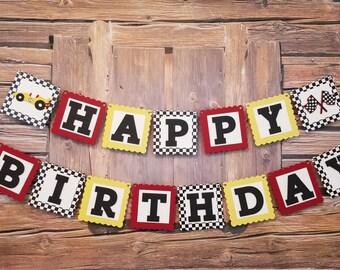 Happy Birthday Race Car Banner, Race Car Theme, Race Car Birthday Banner, Birthday Race Car Party Banner, Race Car Birthday Party Decor