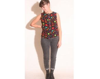 Vintage 1990s Carole Little Button Down Bright Colorful Floral Tank size 14 (small)