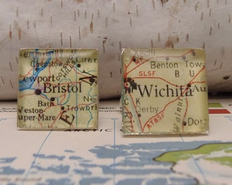 Personlized Custom Map Cufflink