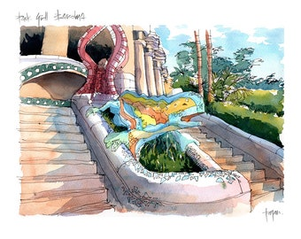 Park Güell Drac PRINT / Antoni Gaudí. Gràcia, Barcelona / drawing Barcelona REF 047