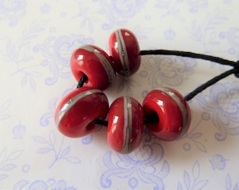 lampwork red glass bead set, UK handmade