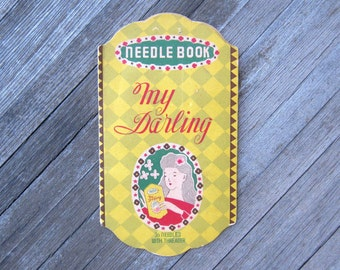 Antique My Darling Sewing Needle Book; Made in Japan Old Fashioned Woman Illustration; Art Nouveau Graphics; U.S. Shipping Included
