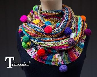 Châle étole femme tricot main soie et coton