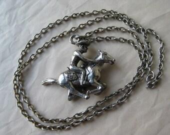 Cowboy Riding Horse Necklace Silver Vintage Pendant Southwest Western