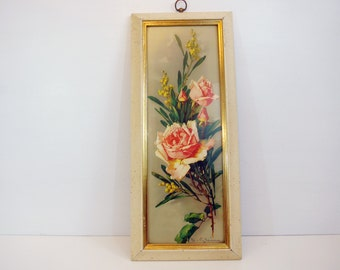 Vintage Large Turner Wood Catherine Klein Framed Rose Picture - Rectangle Wall Decor Pink Rose Wall Hanging - Cottage Chic Shabby Chic Decor
