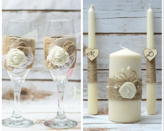 Rustic Wedding Flutes Unity Candle set Champagne Glasses Wedding Candle Set Rustic Toasting Glasses Burlap Wedding Candles Set