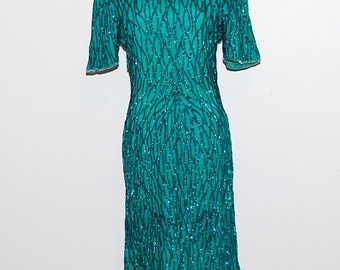 Dress Vintage Green Wiggle with Sparkle and Glitz