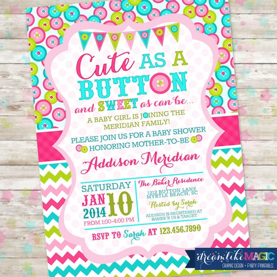 Cute as a button baby shower invitation printable invite like this item filmwisefo Images