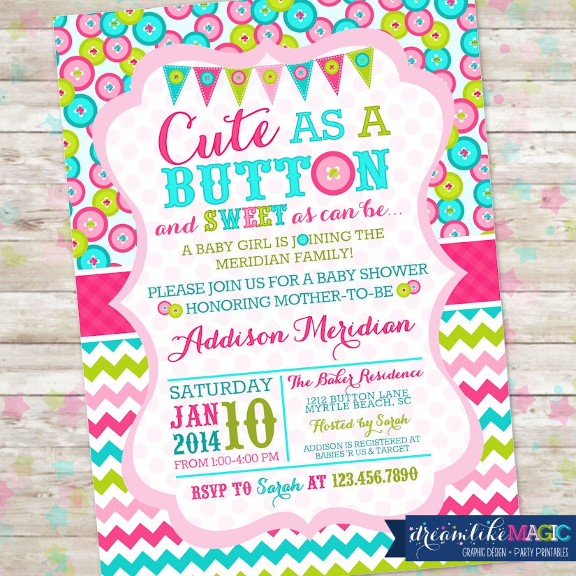 Cute as a Button Baby Shower Invitation Printable Invite