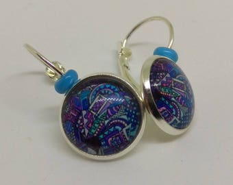 Earrings Silver 925 glass cabochon, new art in blue and purple patterns