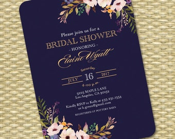 Bridal Shower Invitation, Wedding Shower Invite Navy Blue Gold Black Gold Watercolor Floral