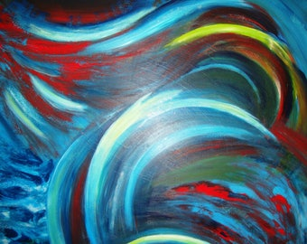 "Abstract painting-Acrylic on canvas ""pain wave"""
