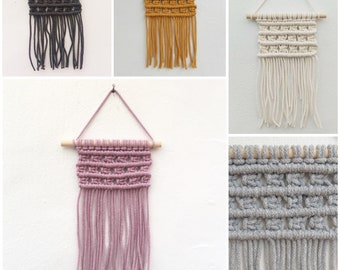 White, Grey or Mustard Mini Macrame Wall Hanging each
