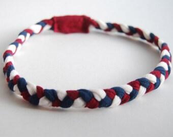 Braided Headband - Red White Blue - Patriotic Colors - Eco Friendly - Organic Cotton