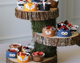 12 x Woodland Cupcake Wrapper - Woodland party/Woodland Baby shower/Fox Cupcake wrapper/Woodland Animals/Woodland Birthday/Forest Animals
