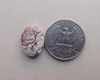 Red Crazy Lace Agate oval cabochon 17x12mm small ring size cabochon