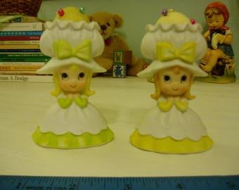 Two Sweet Big Bonnet Pin Cushion Girls, Japan, Vintage Nursery Decor