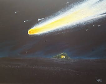 "Comet 9""x12"" original oil painting"