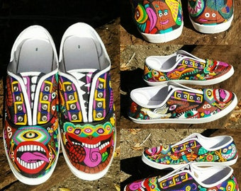 Psychedelic Animals Hand Painted Sneakers