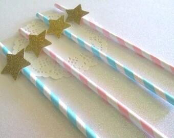 12 Twinkle Twinkle Little Star Decorations Twinkle Star Straws Star Gender Reveal Straws Gender Reveal Decor Pink Blue Twinkle Star Straws