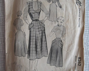 """1950 Jumper & Skirt - 34"""" Bust - McCall 8262 - 1950s Vintage Sewing Pattern"""