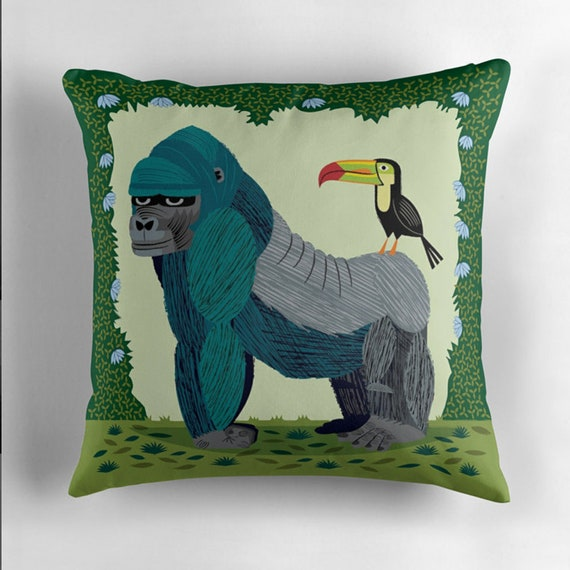 The Gorilla and The Toucan - animal friends - Throw Pillow / Cushion Cover including pillow insert - iOTA iLLUSTRATION