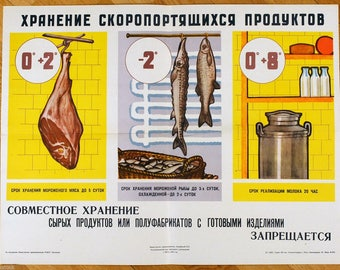 1964 Soviet Russian Original COOKING Restaurant POSTER Keep products frozen