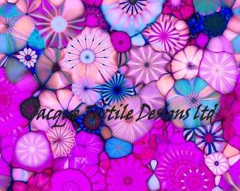 Pink Fashion Textile Artist Hand Created Jersey Lycra Spandex Knit Kaleidoscope Blue Fabric